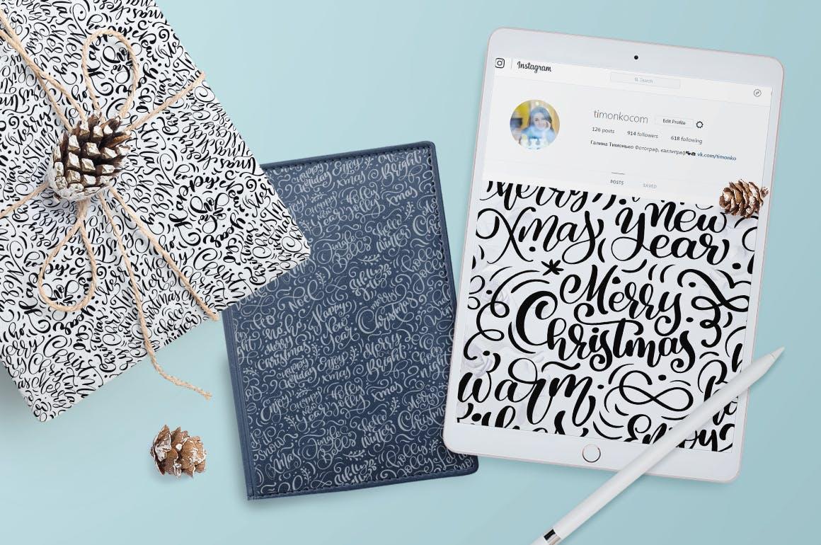 北欧手绘圣诞字母图案Christmas lettering patterns插图(4)