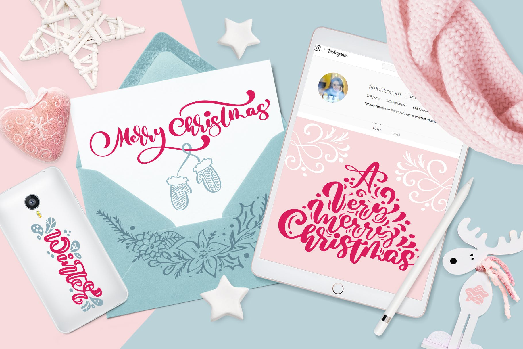 圣诞节元素雪花/星星/手套/礼物图案花纹装饰图案模板Christmas lettering quotes design插图(4)