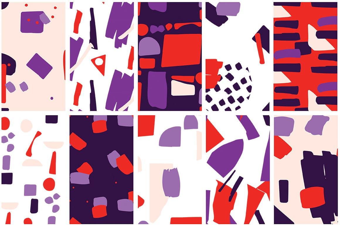 40个创意拼贴彩色图案涂鸦下载Collage Colorful Patterns插图(4)