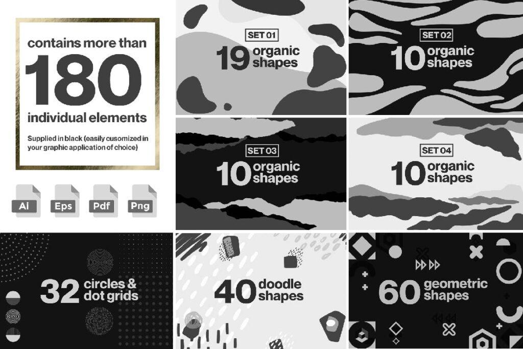 企业品牌装饰图案辅助图像素材花纹下载Creative Shape and Patterns Bundle插图(4)