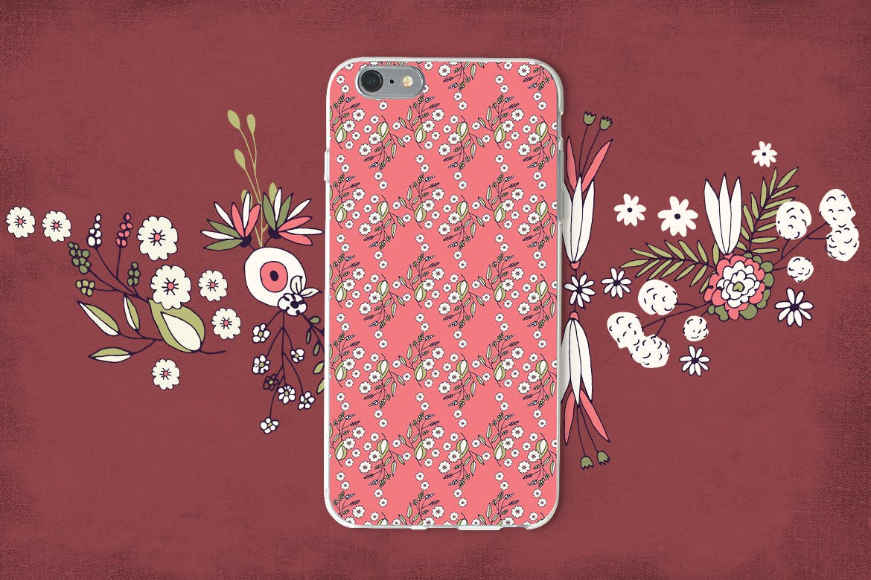 精致的花朵创意矢量图案纹理素材Delicat Flowers插图(4)
