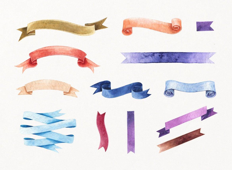 花卉/树叶/羽毛水彩元素装饰图案Enchanted Watercolor Kit插图(4)