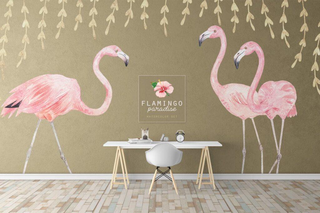 火烈鸟热带树叶和花朵主题装饰元素纹理花纹装饰图案FLAMINGO PARADISE watercolor set插图(4)