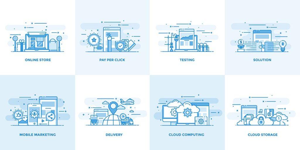 40个创意商务场景插图设计素材下载Flat Line Designed Concepts插图(4)