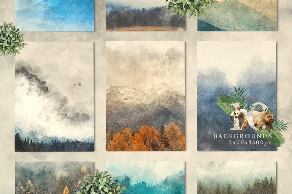 自然和森林主题元素装饰图案创意设计Forest Illustrations Graphics Kit插图(4)