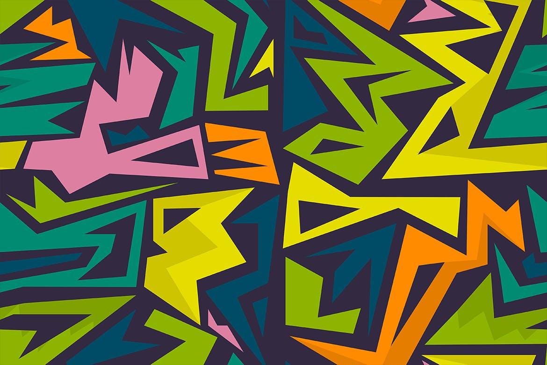 街头艺术创意纹理材质装饰元素Graffiti Maze Seamless Patterns插图(4)