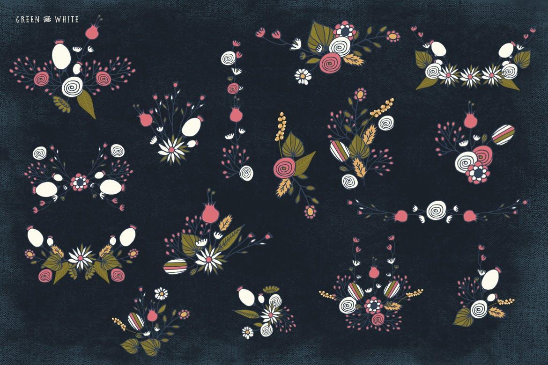 服装花纹包装图案花纹素材模板下载Green and White Flowers插图(4)