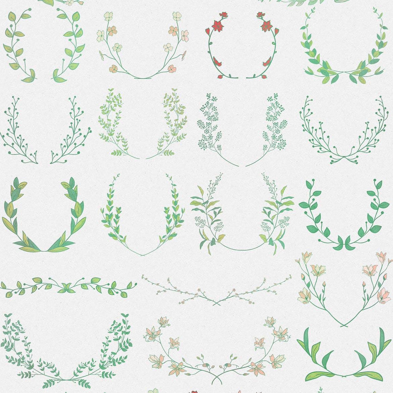 手绘乡村花卉涂鸦设计元素Greenery Collection167 Elements插图(3)