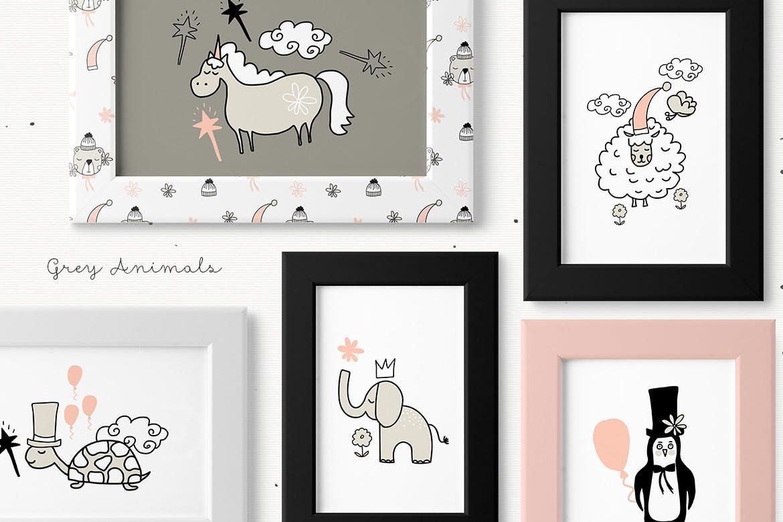 灰色动物手工剪纸和图案精致的家庭装饰图案Grey Animals插图(4)