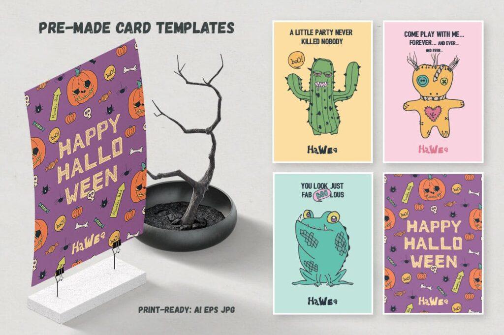 万圣节主题元素素材装饰图案纹理素材下载HaWe Halloween Vector Toolkit插图(4)