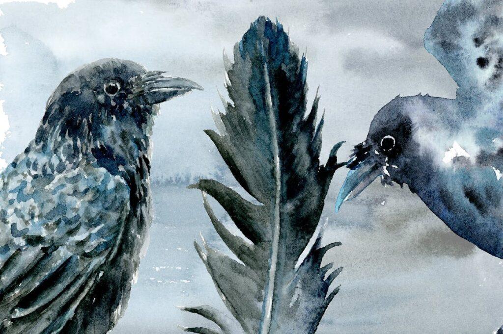 水彩万圣节乌鸦/女巫元素相框装饰画Halloween Crows and Witch Watercolor插图(4)