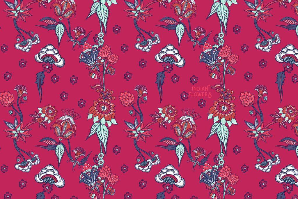 印度风格花卉插花抱枕装饰图案花纹Indian Flowers插图(4)