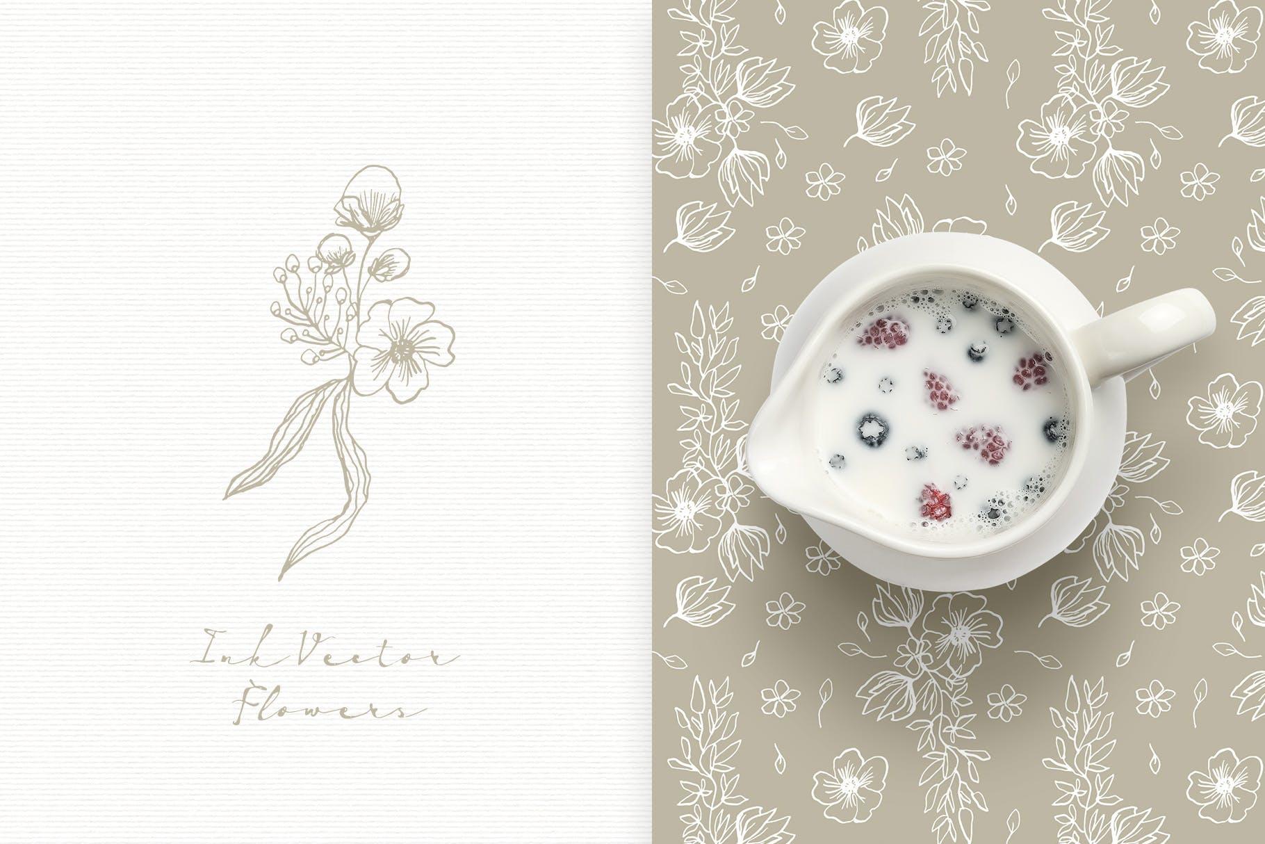 手工研磨制品装饰图案Ink Vector Flowers插图(4)