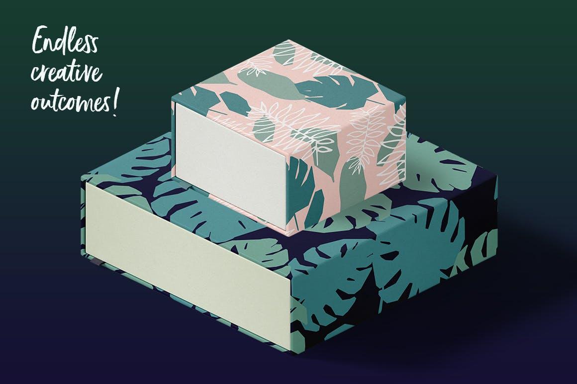 野外40个丛林元素矢量图案元素下载Jungle Patterns Collection插图(4)
