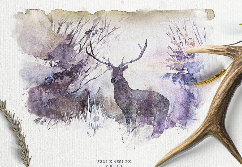 水彩画的风景与山脉/田野/河流Landscapes watercolor插图(4)