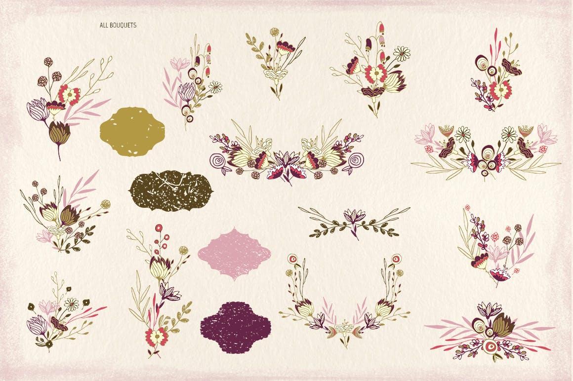 薰衣草花轮廓图素材模板图案纹理下载Lavender Flowers插图(4)