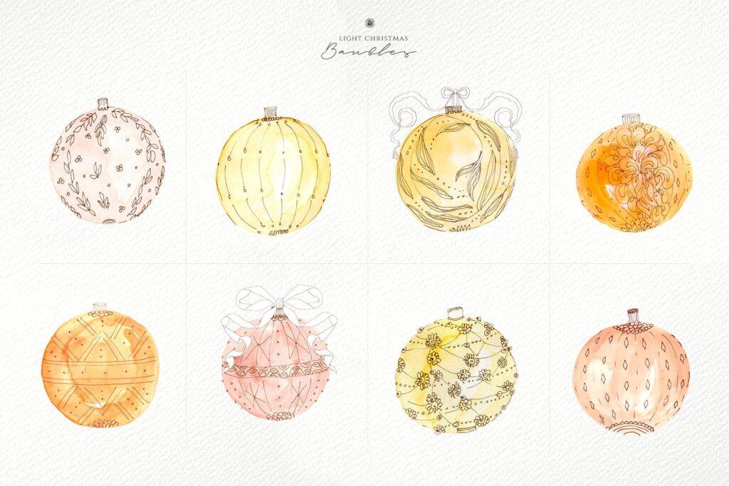 圣诞节水彩小玩意水彩圣诞装饰品Light Christmas Watercolor Baubles插图(3)