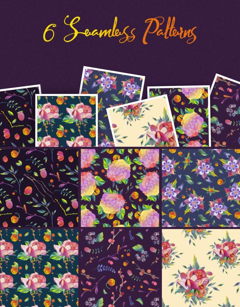 30个风俗化矢量插图的花叶海报传单传单装饰图案Lunar Flower Watercolor Graphic Kit插图(2)
