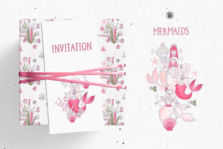 美人鱼粉红色矢量剪贴画和图案Mermaids插图(4)