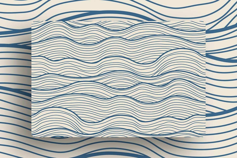 复古波浪条纹无缝图案Minimalist Waves Seamless Patterns插图(4)