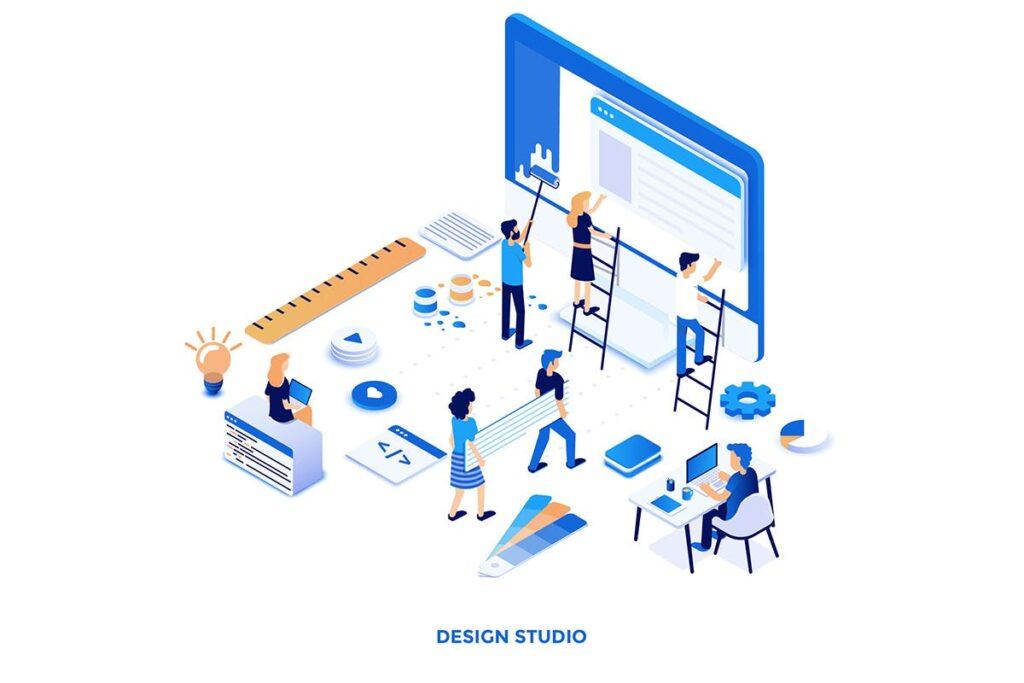 2.5D企业销售数据展示互联网销售场景创意插画设计Modern flat design isometric illustrations插图(4)