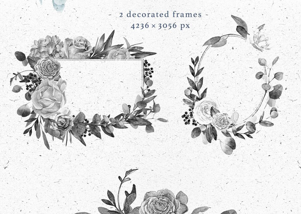 艺术风格灰色字母组合花束装饰图案纹理素材下载Monograms Artarianvol1插图(4)