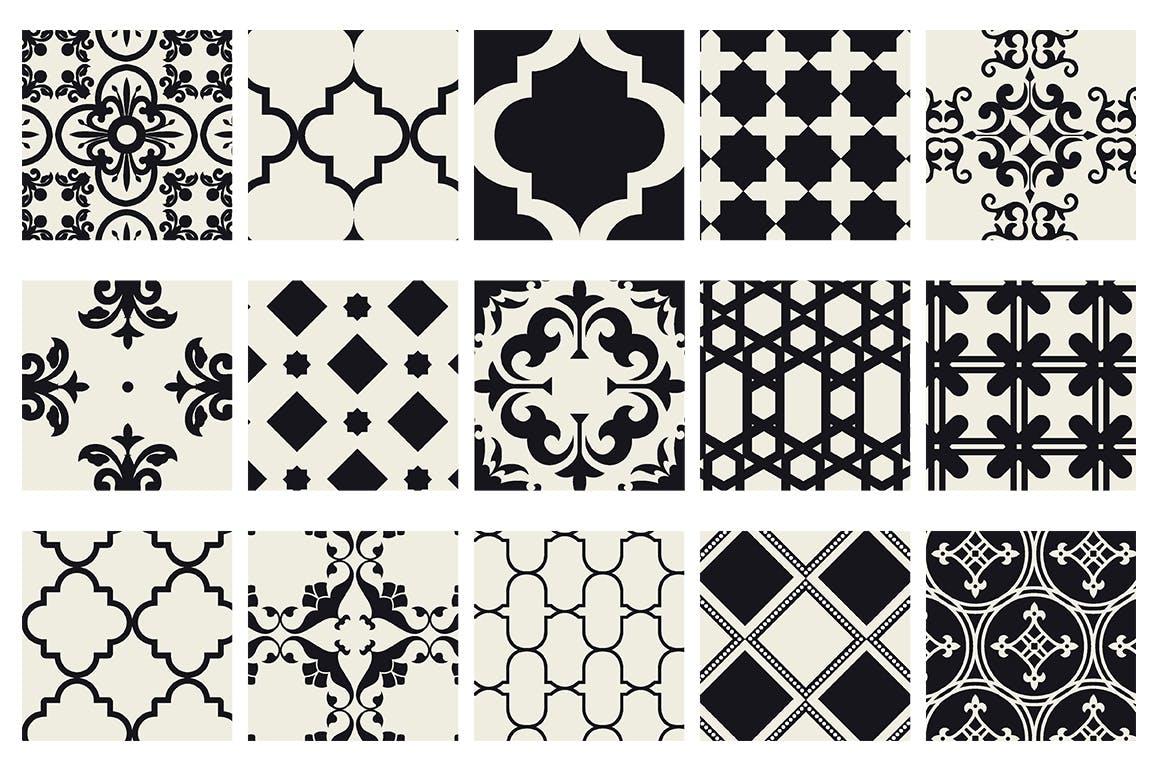 15个摩洛哥风格无缝矢量模式重复排列组合Moroccan Style seamless vector patterns vol1插图(4)