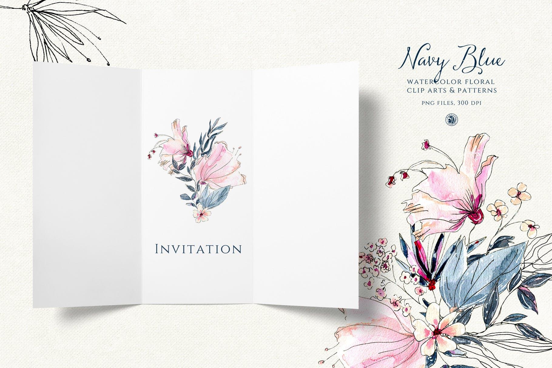 海军蓝花朵手绘水彩花朵和图案装饰元素下载Navy Blue Flowers插图(4)