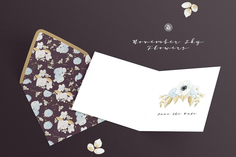 婚礼素雅白色花系装饰图案素材装饰图案下载November Sky Flowers插图(4)