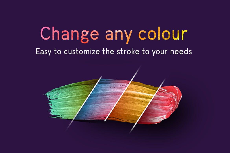 80个油画色彩笔触纹理材质装饰Paint Brush Strokes插图(4)