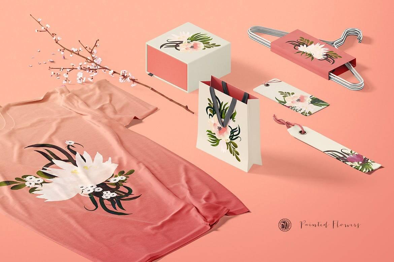 彩绘花卉品牌手提袋包装装饰图案素材Painted Flowers插图(4)