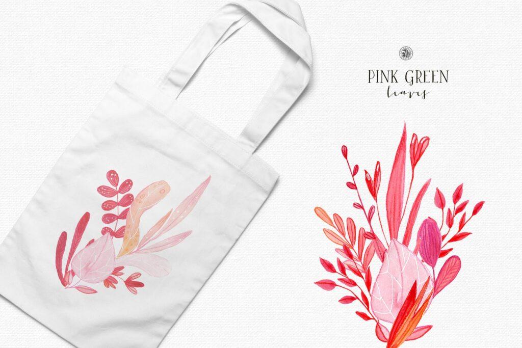 粉红色叶子水彩花卉装饰图案花纹Pink Green Leaves插图(4)