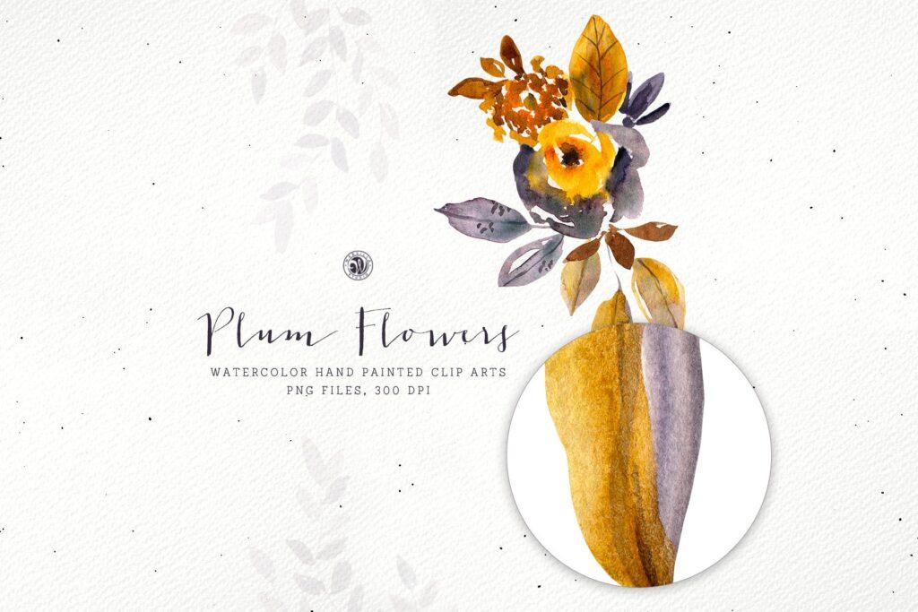 梅花水彩画手绘水彩画剪贴艺术装饰图案Plum Watercolor Flowers插图(4)