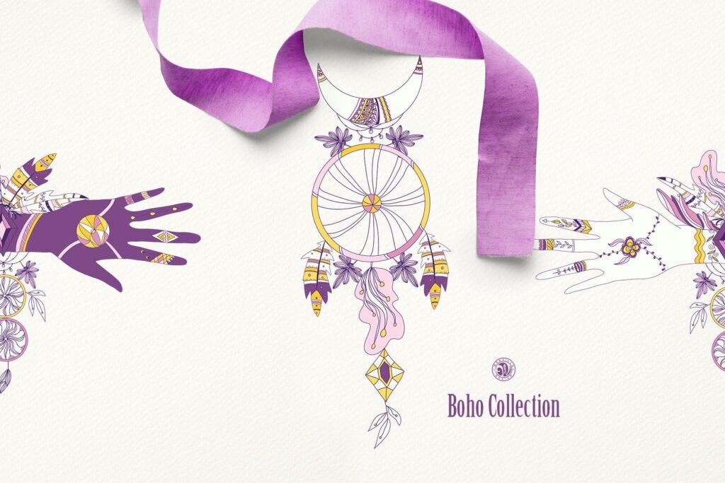 紫色波西米亚手绘系列波西米亚手工剪纸装饰图案Purple Boho Collection插图(4)