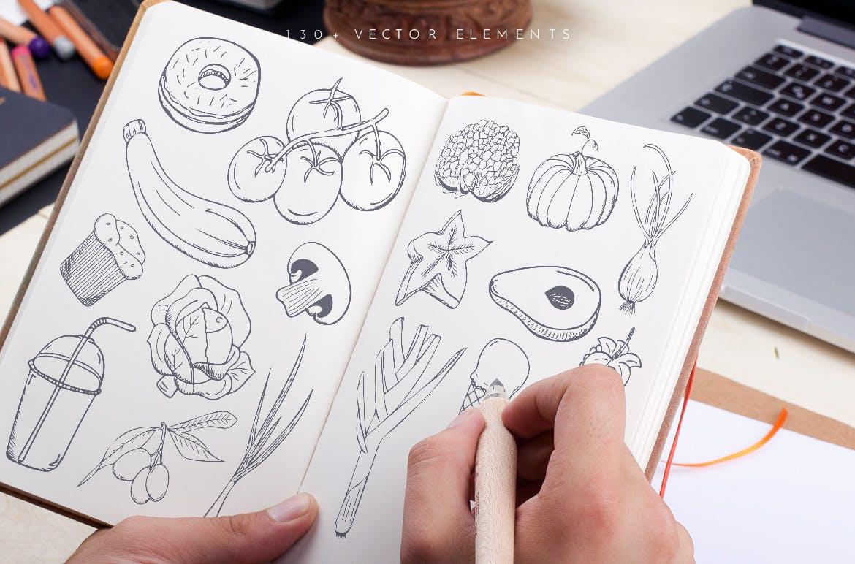 美食餐饮品牌宣传手绘矢量图案素材Ratatouille Sketched插图(4)