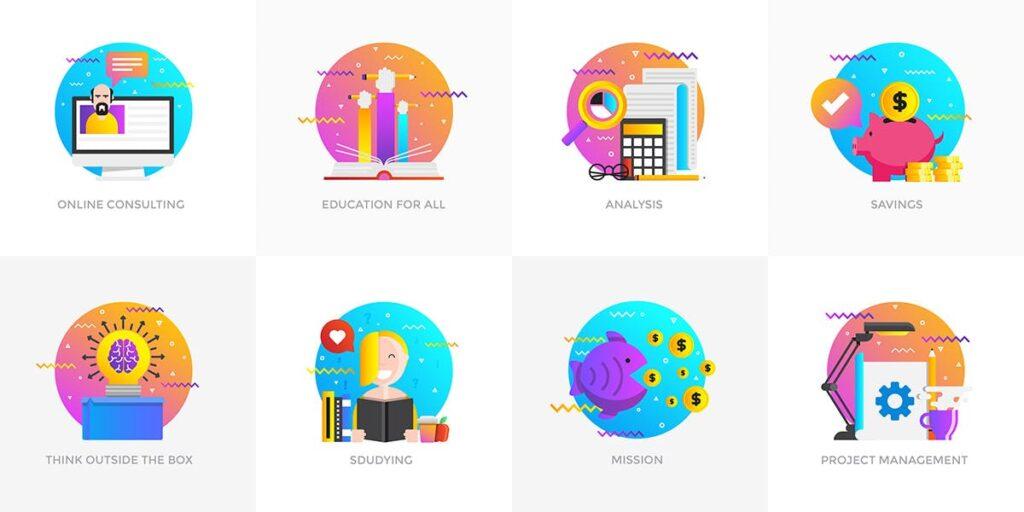 商业活动数据演示主题插画素材Set of Modern Flat Multi Color Conceptual icons插图(4)