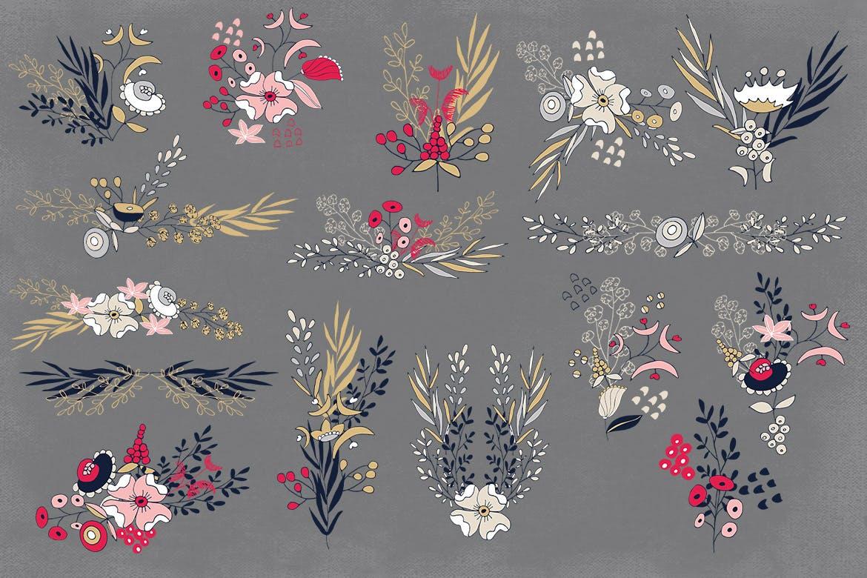 卡片婚礼邀请装饰图案花纹素材下载Silver Flowers插图(4)