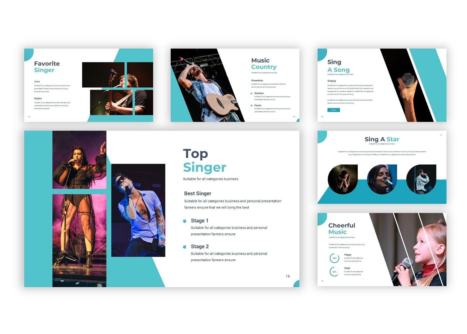 演唱会活动宣讲及活动策划案例PP幻灯片模板Singthrou Google Slides Template插图(4)