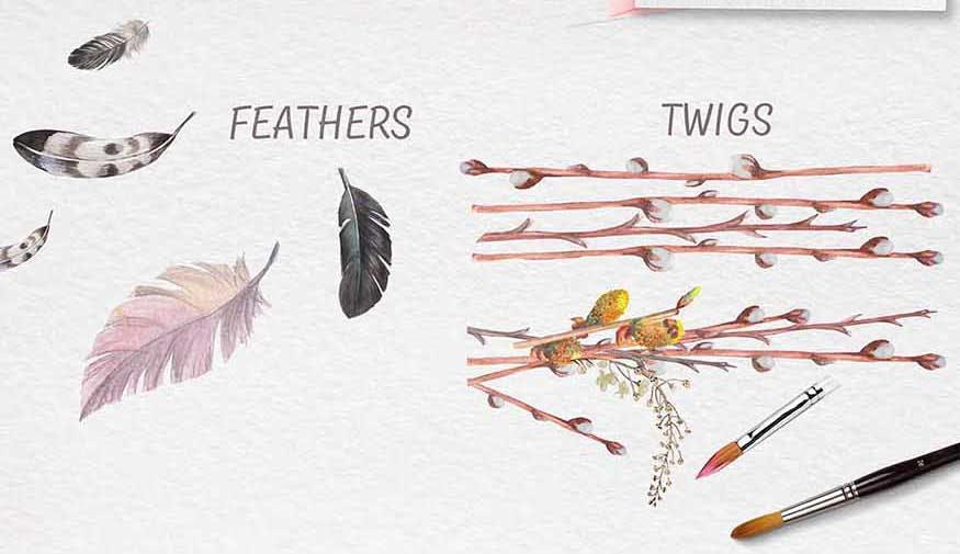 手绘水彩花环装饰图案纹理下载Spring bloom set 80 PNG插图(4)