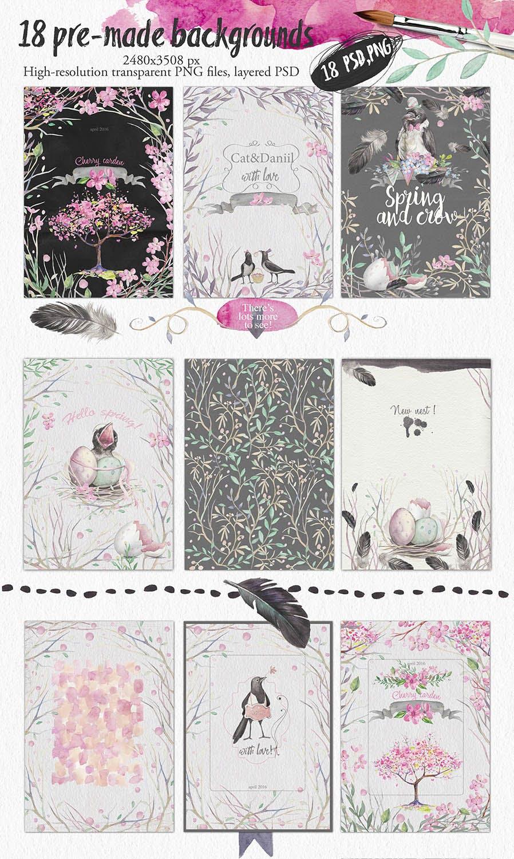 春天与乌鸦艺术创作作品集图案纹理素材下载Spring crows bundle插图(4)