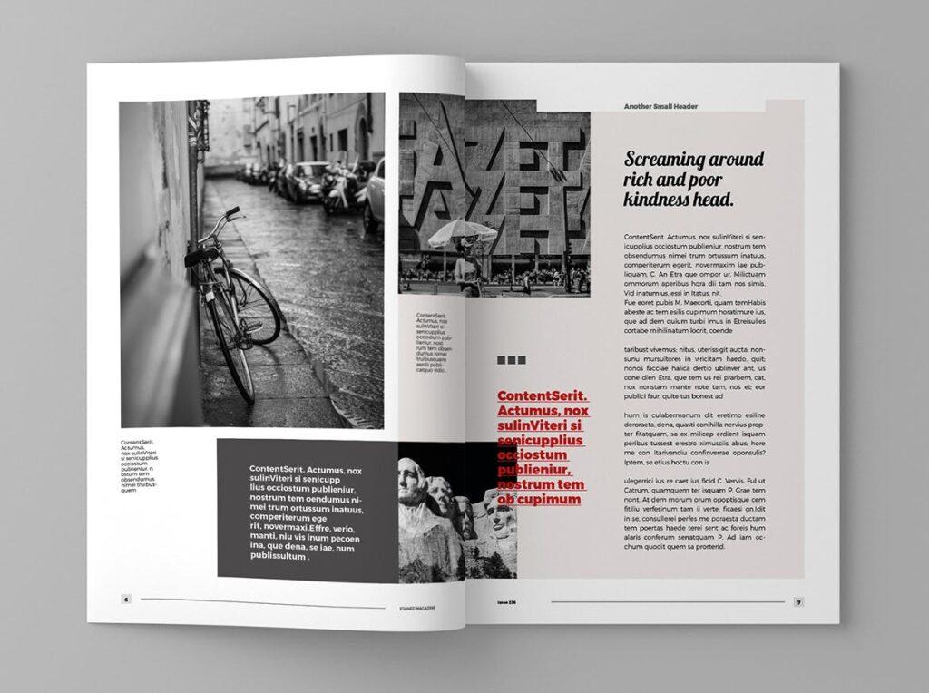 年代历史回忆录主题杂志模板素材Stained Magazine Template插图(2)