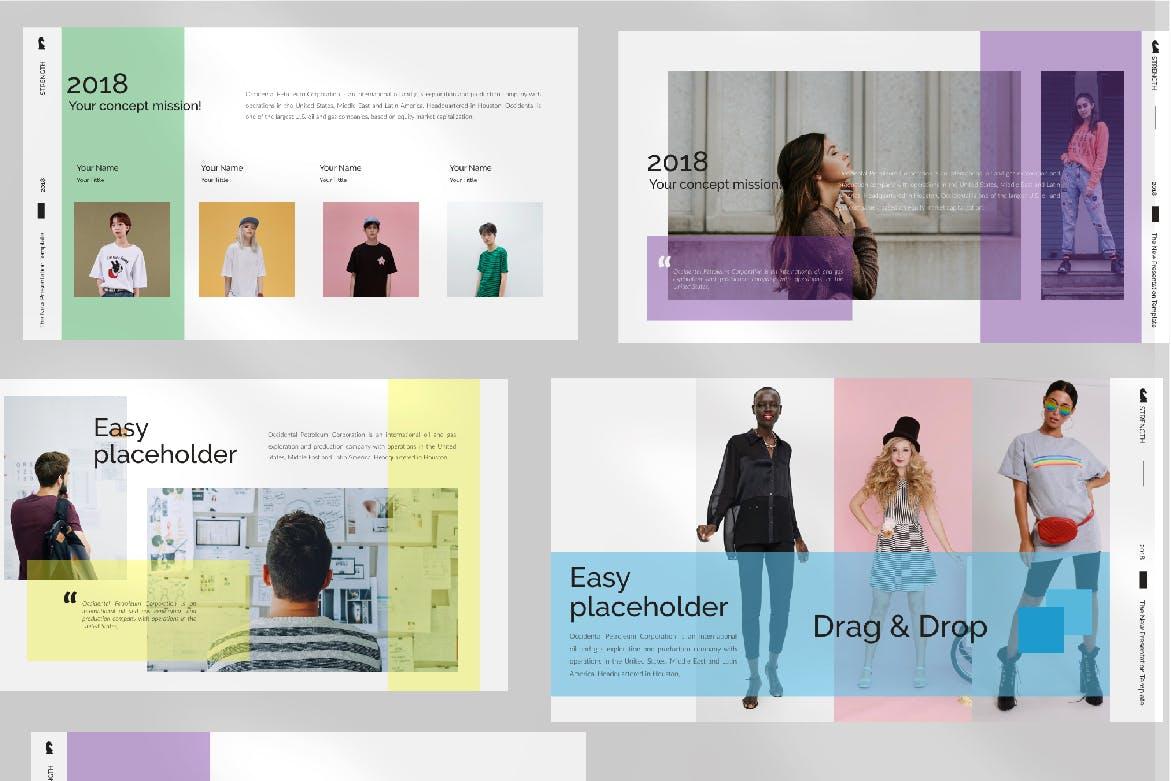 青春服装展览演示文稿模版trenght White Google Slide插图(4)