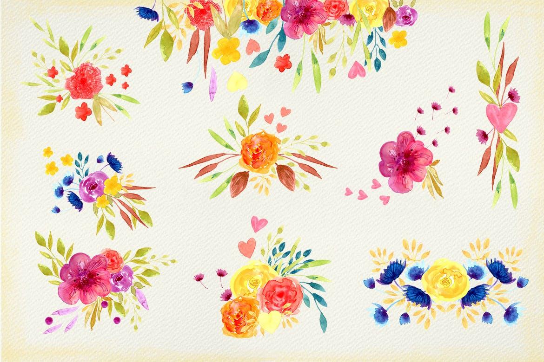 夏日鲜花水彩画元素装饰图案元素Summer Flowers插图(4)