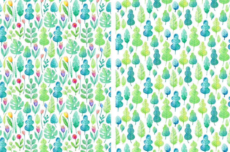 手绘水彩花卉图形元素装饰图案纹理花纹素材Summer Garden Watercolor Design Kit插图(4)