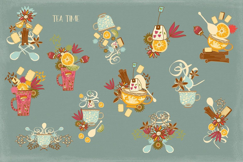 茶品类包装辅助图形图案元素图案/纹理装饰元素下载Tea Time插图(4)