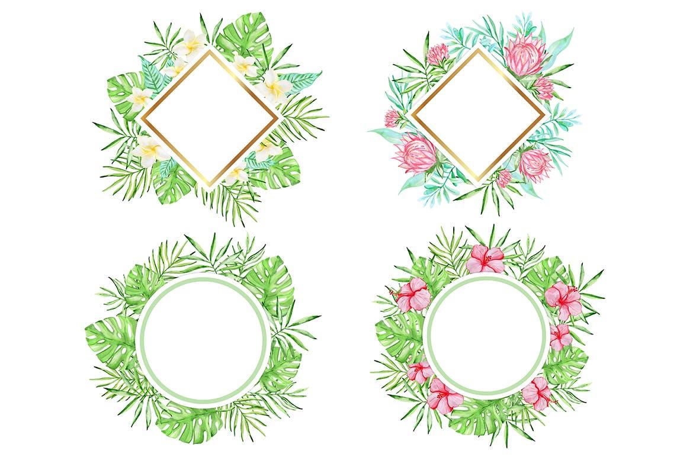 36套手绘热带水彩花卉元素装饰图案Tropical Summer Design Kit插图(4)