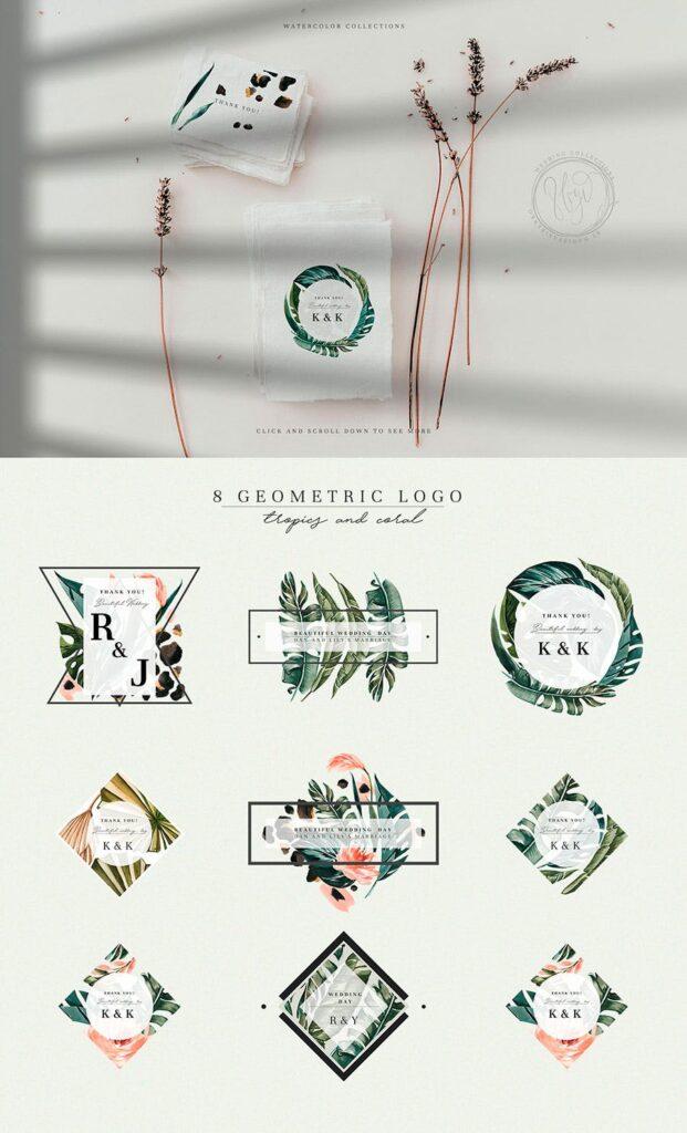 明亮色彩热带绿色植物结合婚礼装饰图案花纹Tropics & Coral Watercolor Set插图(4)