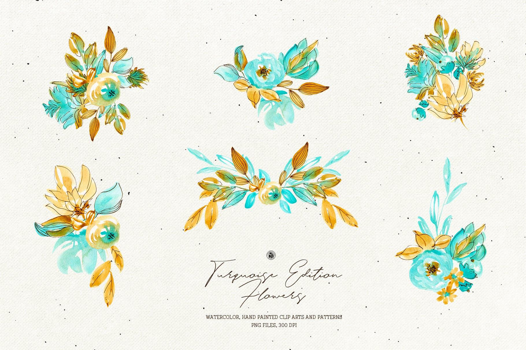 绿松石版水彩花/手绘水彩画/剪贴艺术图案Turquoise Edition Flowers插图(4)