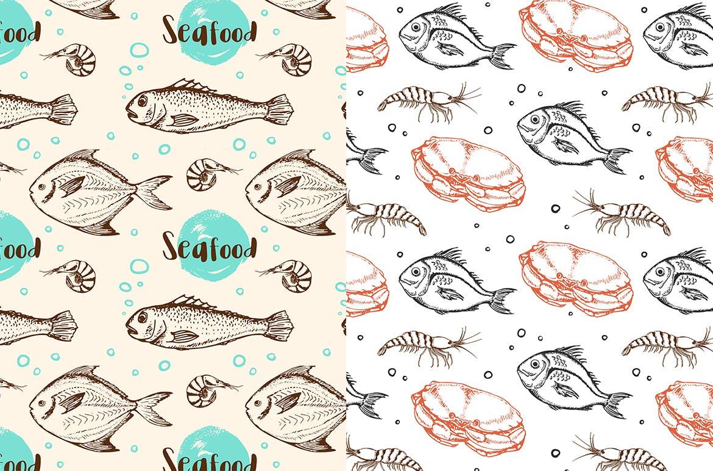 海洋生物元素矢量复古风手绘装饰图案Under the Sea Seamless Patterns插图(4)