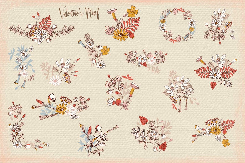 情人节主题花卉图案模板素材Valentine's Mood插图(4)